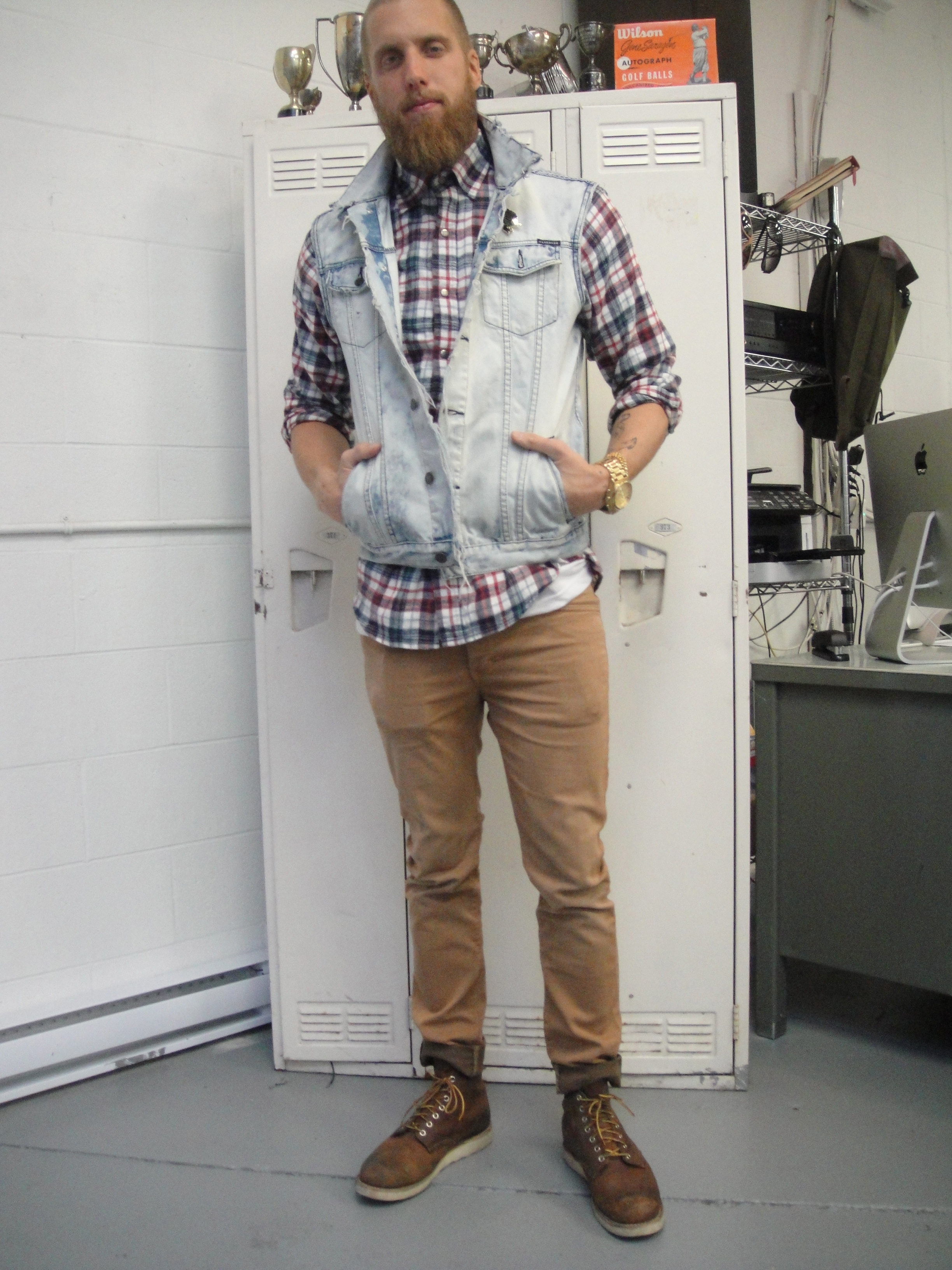 Daniel: Denim vest (hand done himself) and Plaid shirt with kaki pants